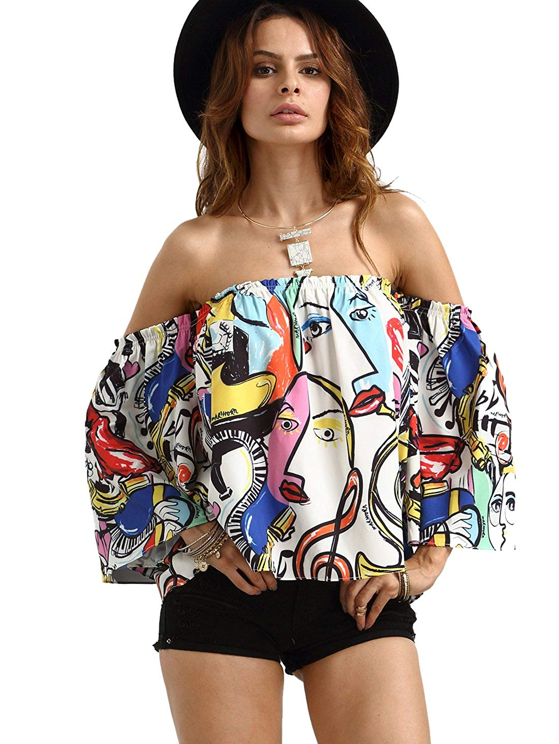 colorful funky crop top. Casual Womens Fashion and Womens Cool Trending Clothes, Dresses. #womensfashion #womensdress #summeroutfit #casualoutfit