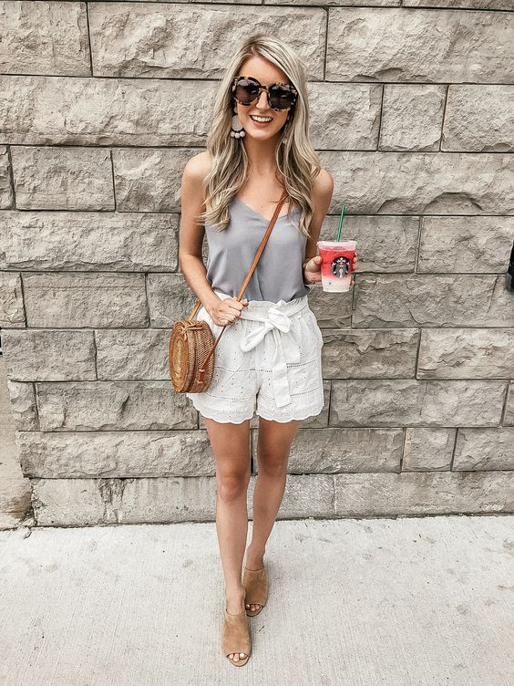 Cami/Camisole and short outfits. Casual Womens Fashion and Womens Cool Trending Clothes, Dresses. #womensfashion #womensdress #summeroutfit #casualoutfit
